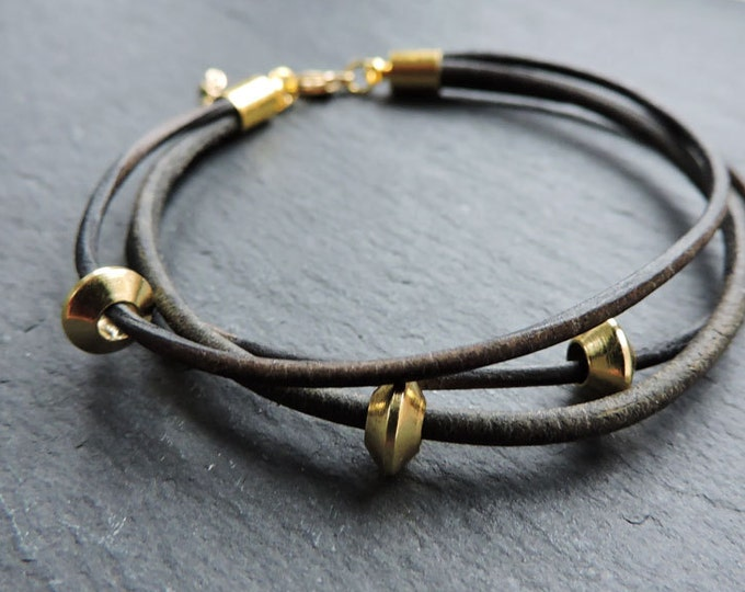 Leather and Gold Bracelet - Handmade black multi strand leather cord strand bead wrap bracelet, vintage boho style stacking bracelets