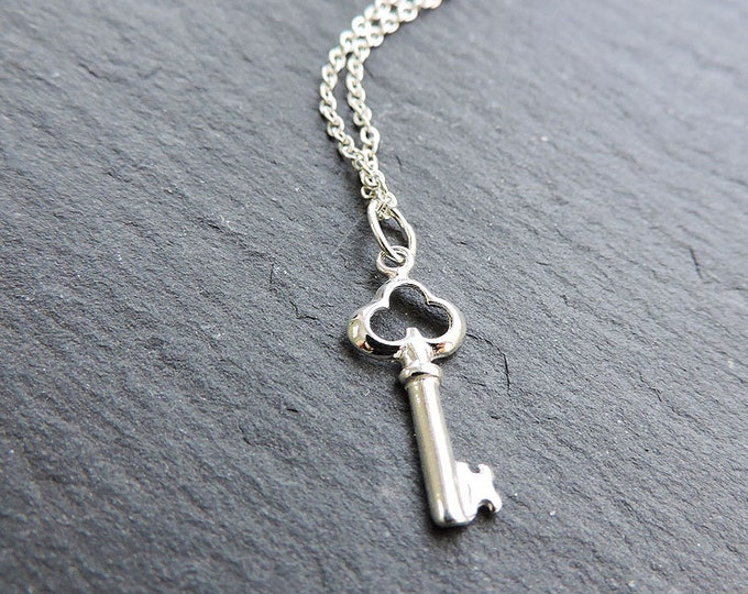 Sterling silver large key charm pendant - Ornate key, lock, key to my heart, love lock necklace, silver key necklace