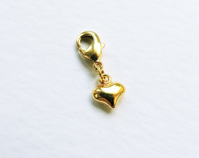 24ct Gold Tiny Heart Charm - Small Puffed Gold Heart Clip-on charm - Gold Lobster clasp charm, Love, 3D Gold Heart for Charm Bracelet