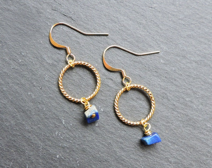 Lapis and Gold Twist Earrings - Gold hook wire twisted gold hoop ring earrings, Royal blue Lapis Lazuli gemstone, wire wrapped natural stone