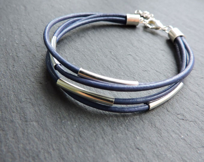 Purple Leather & Silver Multi-strand Bracelet - Dark Lilac Indigo leather cord strand bead wrap bracelet with silver tube bar detail