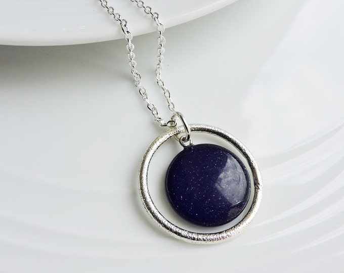 Silver textured orbit ring & dark navy blue round sandstone pendant - Midnight blue sparkling circle coin stone necklace on silver chain