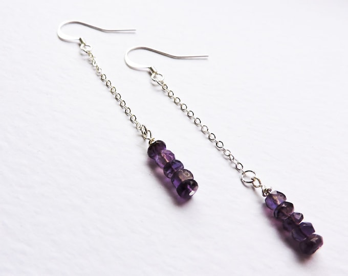 Long Amethyst Silver Earrings - Deep Purple Amethyst faceted long chain drop ear wire hook earrings