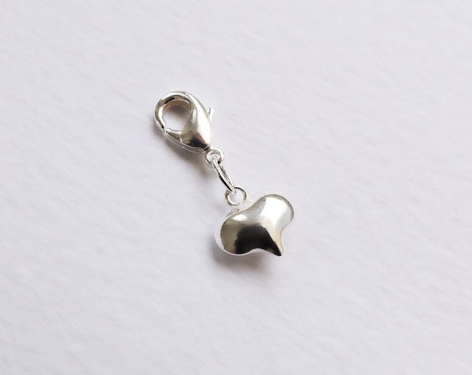Sterling silver puffed heart charm with lobster clasp/bolt for charm bracelets or necklaces - 3D heart charm bracelet - clip-on charm