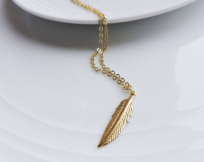 Gold feather necklace - Long gold boho charm pendant, leaf pendant, classic, layering necklace