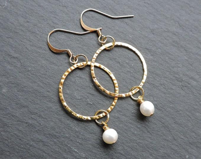 Gold Hammered Hoop & White Pearl Hook Earrings - Freshwater pearl, wedding bridal gold ring earwire earrings, karma earrings, hook hoop