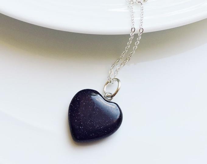 Dark Blue Sandstone Heart Shaped Semi-Precious Gemstone Pendant on Silver Chain Necklace - Midnight Blue/Black Stone Glitter Sparkle