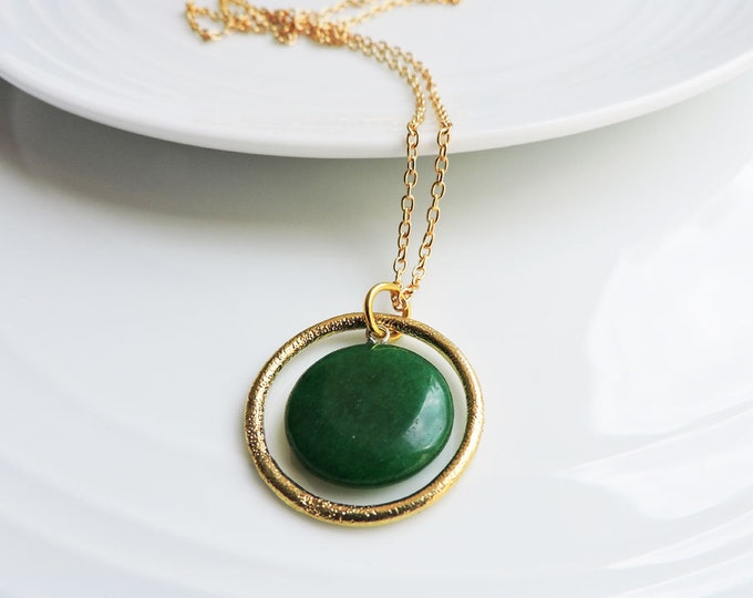 Deep Green Jade & Gold Orbit Pendant Necklace - Emerald Green Round Coin Pendant with Textured Gold Ring