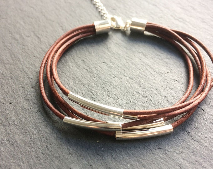 Brown Leather & Silver Multi-strand Bracelet - Brown leather cord strand bead wrap bracelet with silver tube bar detail