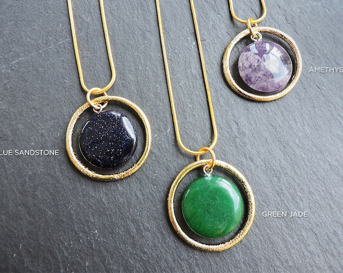 Textured Gold Gemstone Orbit Pendant Necklace - Blue Sandstone, Purple Amethyst, Green Jade
