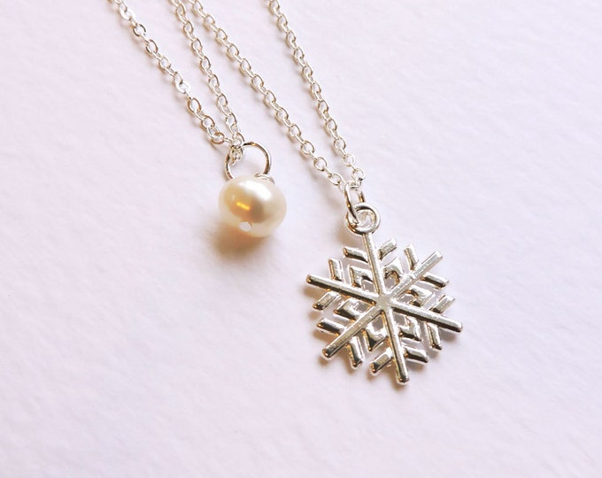 Layered Silver Snowflake & White Pearl Pendant on Silver Necklace - Two Necklaces - Christmas Gift - White Winter Snow Necklace