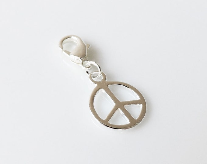 Sterling silver peace charm - Bolt-on peace symbol charm, love, hippy, freedom, clip-on silver clasp charm for charm bracelets