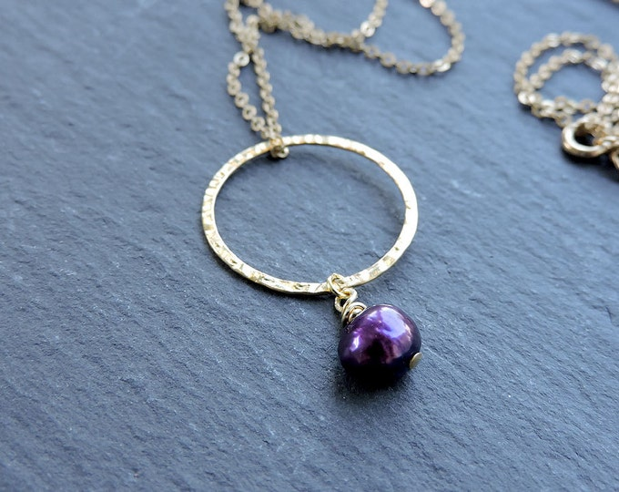 Gold Karma & Purple Pearl Pendant - hammered gold ring - Long ring necklace, dark vibrant purple Freshwater baroque pearl drop