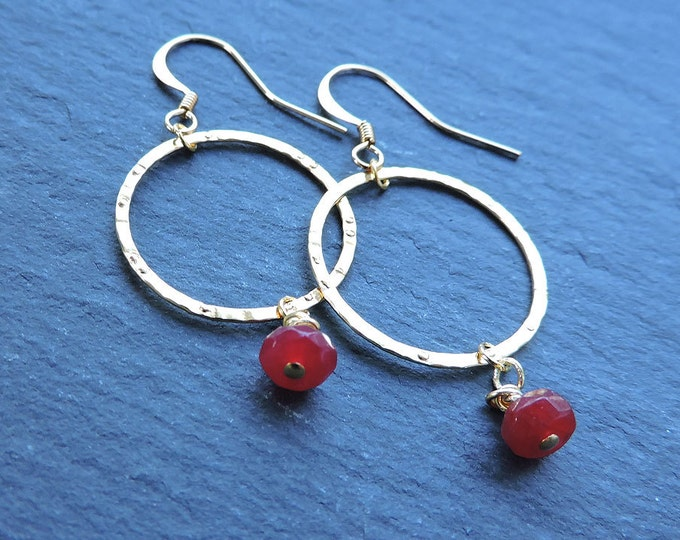 Ruby & Gold Hammered Hoop Hook Earrings - Textured gold ring drops with wire-wrapped genuine deep red ruby briolettes