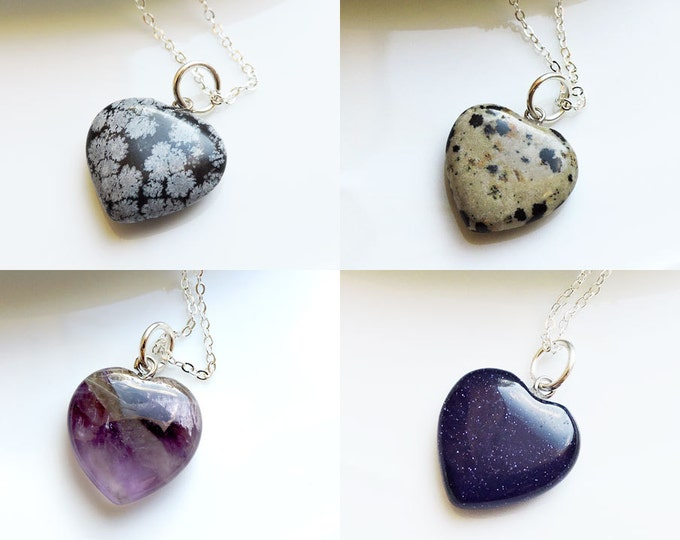 Heart Shaped Semi-Precious Gemstone Pendant on Silver Chain Necklace - Blue Sandstone, Dalmation Jasper, Amethyst & Snowflake Obsidian