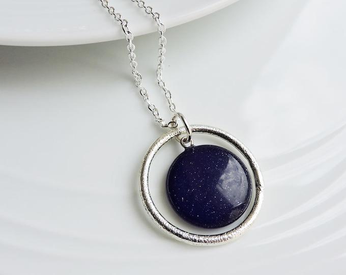 Silver textured orbit ring & dark navy blue round sandstone pendant - Midnight blue sparkling circle coin stone necklace on silver chain