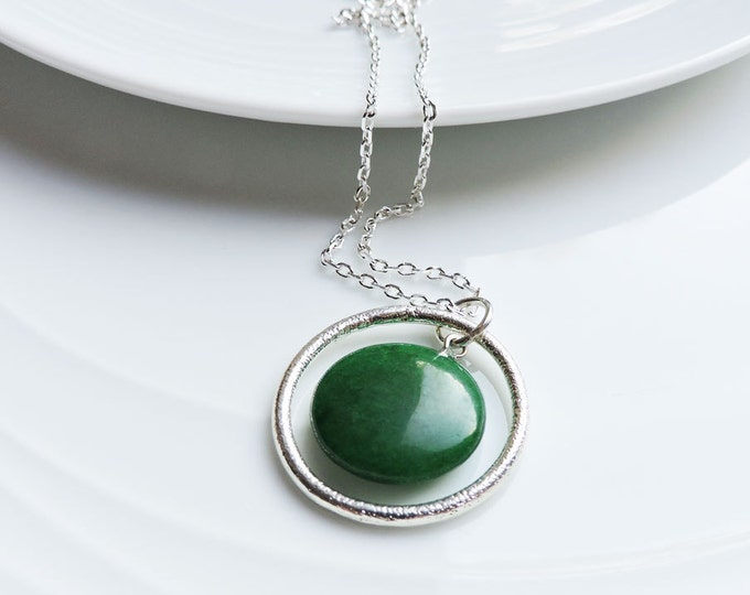 Green Jade & Silver Orbit Pendant Necklace - Dark Emerald Green Round Coin Pendant with Textured Silver Ring - Cable or snake chain choice