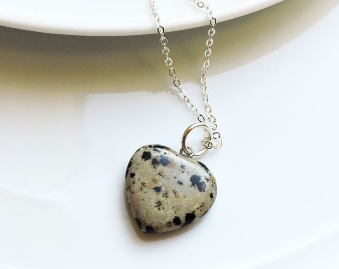 Heart Shaped Semi-Precious Puffed Dalmation Jasper Gemstone Pendant on Silver Snake Chain Necklace - Unique, black ink spot pendant