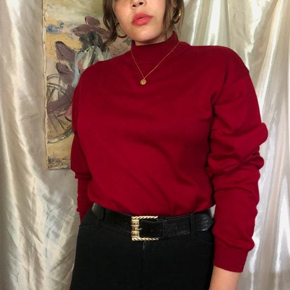 Vintage Wine Mock Neck Sweater