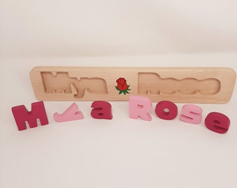 Unicorn Name Puzzle Natural Wood, Wooden Puzzle with Name, Custom Name Puzzle Thick Letters, Pink Name Puzzle for Girl, Gift for Girls Age 6