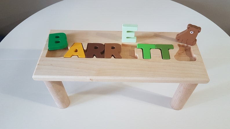 Tremendous Personalized Wooden Bench Name Puzzle Stool Bench Birthday Gift Wood Personalized Puzzle Kids Stool Or Bench Free Engraving Message Ncnpc Chair Design For Home Ncnpcorg