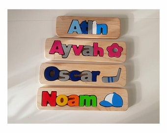 Personalized Name Puzzle, Custom Name Puzzle, Wooden Letter Puzzle, Personalized Gift, Newborn Gift, , Free engraving message,Elliott