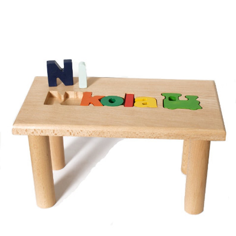 Personalized Wooden bench,Name Puzzle Step Stool Bench Personalized Puzzle,Kids Stool or Bench,Birthday Gift,Engraving Message