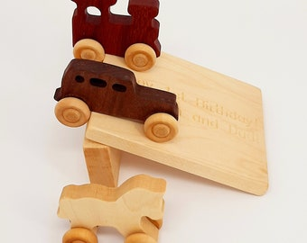 Wooden Toy(3 pieces) and engraving ramp - Wooden Toy car- Organic Toy- Car Toy-Wooden Baby Toy-Eco Friendly-Toy Cars- preschooler toy