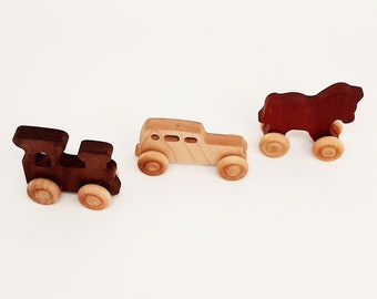 Wooden Train ,car and Horse (3 pieces)- Personalized Gift- Newborn Gift- Organic Toy Wooden Baby Toy-Eco Friendly-Toy Cars- preschooler toy