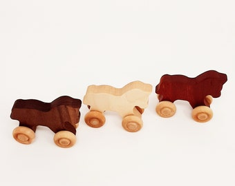 Wooden Horse (3 pieces)- Wooden Toy car- Organic Toy- Car Toy-Wooden Baby Toy-Eco Friendly-Toy Cars- preschooler toy