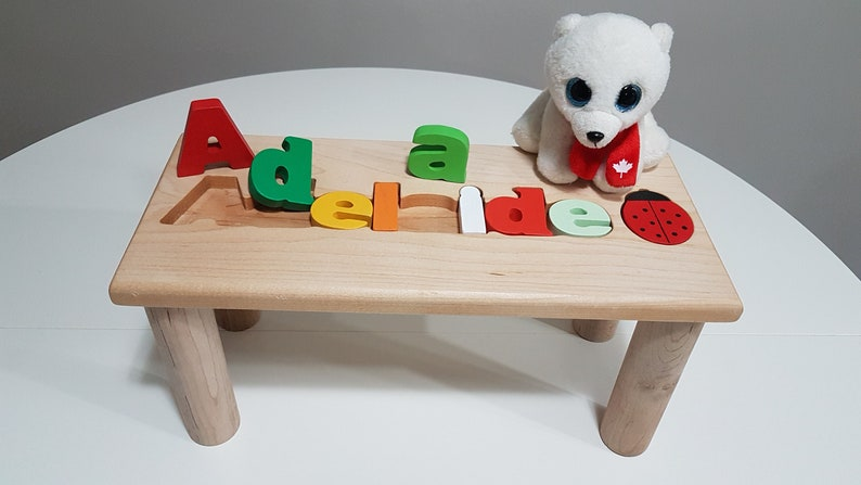 Miraculous Personalized Wooden Bench Name Puzzle Stool Bench Birthday Gift Wood Personalized Puzzle Kids Stool Or Bench Free Engraving Message Ncnpc Chair Design For Home Ncnpcorg