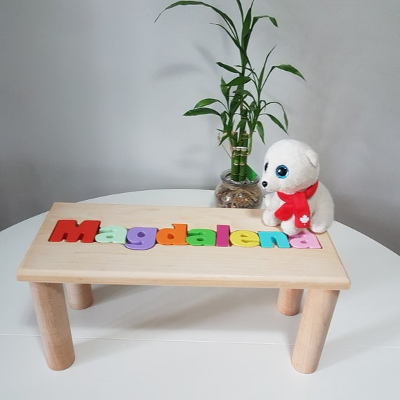 Terrific Personalized Wooden Bench Name Puzzle Step Stool Bench Personalized Puzzle Kids Stool Or Bench Birthday Gift Engraving Message Ncnpc Chair Design For Home Ncnpcorg