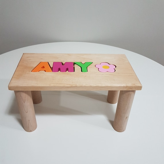 Groovy Personalized Wooden Bench Name Puzzle Step Stool Bench Personalized Puzzle Kids Stool Or Bench Birthday Gift Engraving Message Ncnpc Chair Design For Home Ncnpcorg