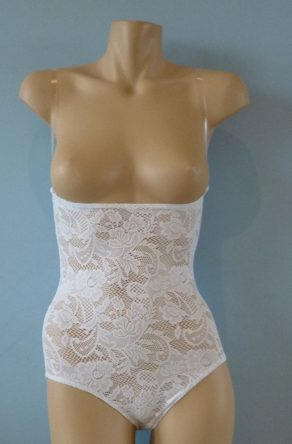 fd538b9dc5 All White Lace Under Bust Mesh Body Stocking for Belly Dance