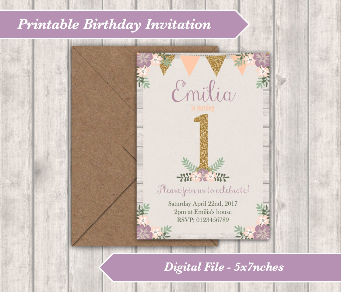 Printable invitation personalised floral birthday invitation printable invitation personalised floral birthday invitation rustic flowers and bunting childrens party first birthday 5x7 digital filmwisefo