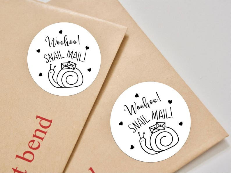 Woohoo! Snail Mail! Stickers for packaging - Envelope Seals - Glossy Black  and White Kawai - Envelope Labels with Hearts - Etsy Packaging