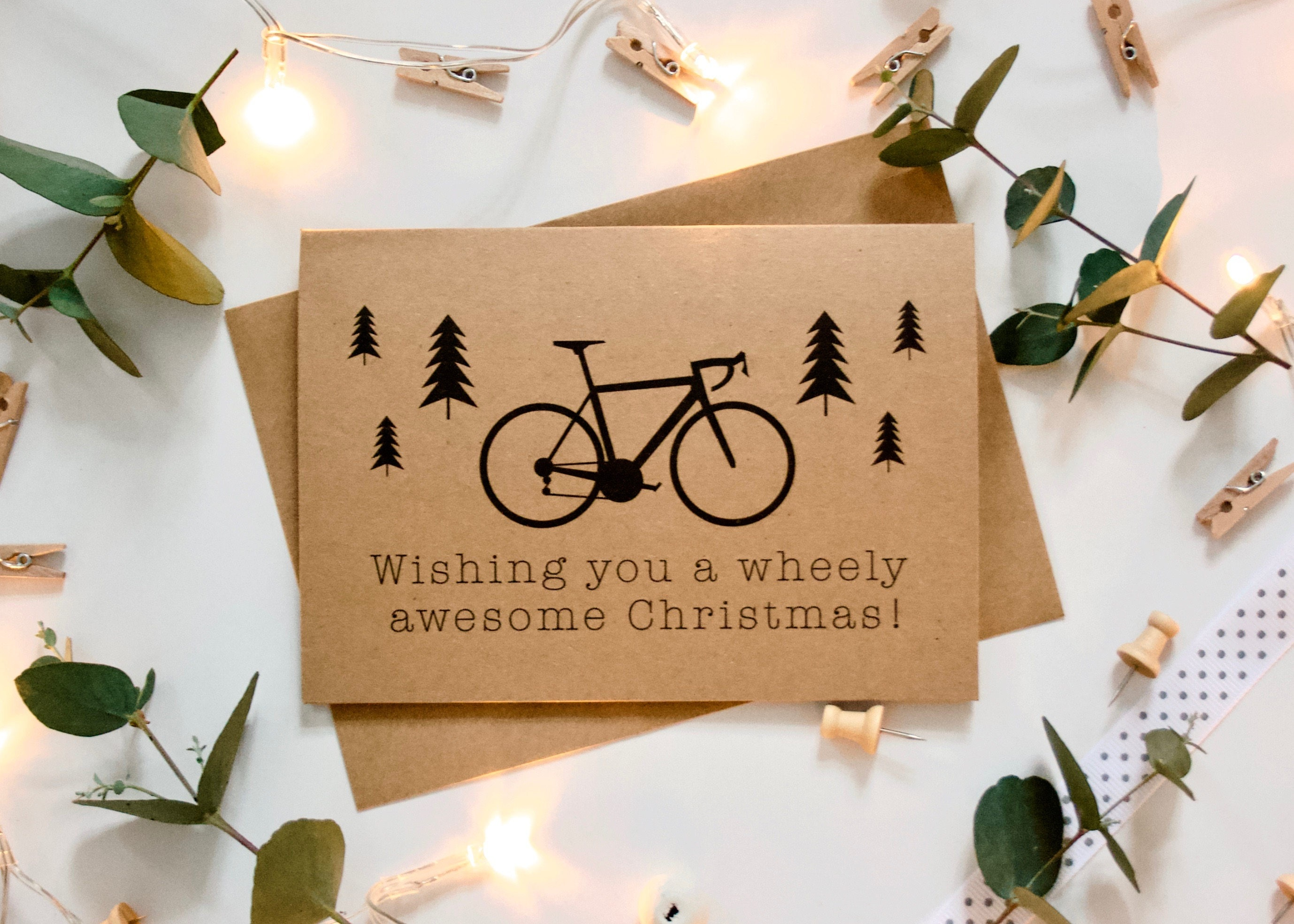 Bicycle Christmas Card - Wishing you a wheely awesome Christmas ...