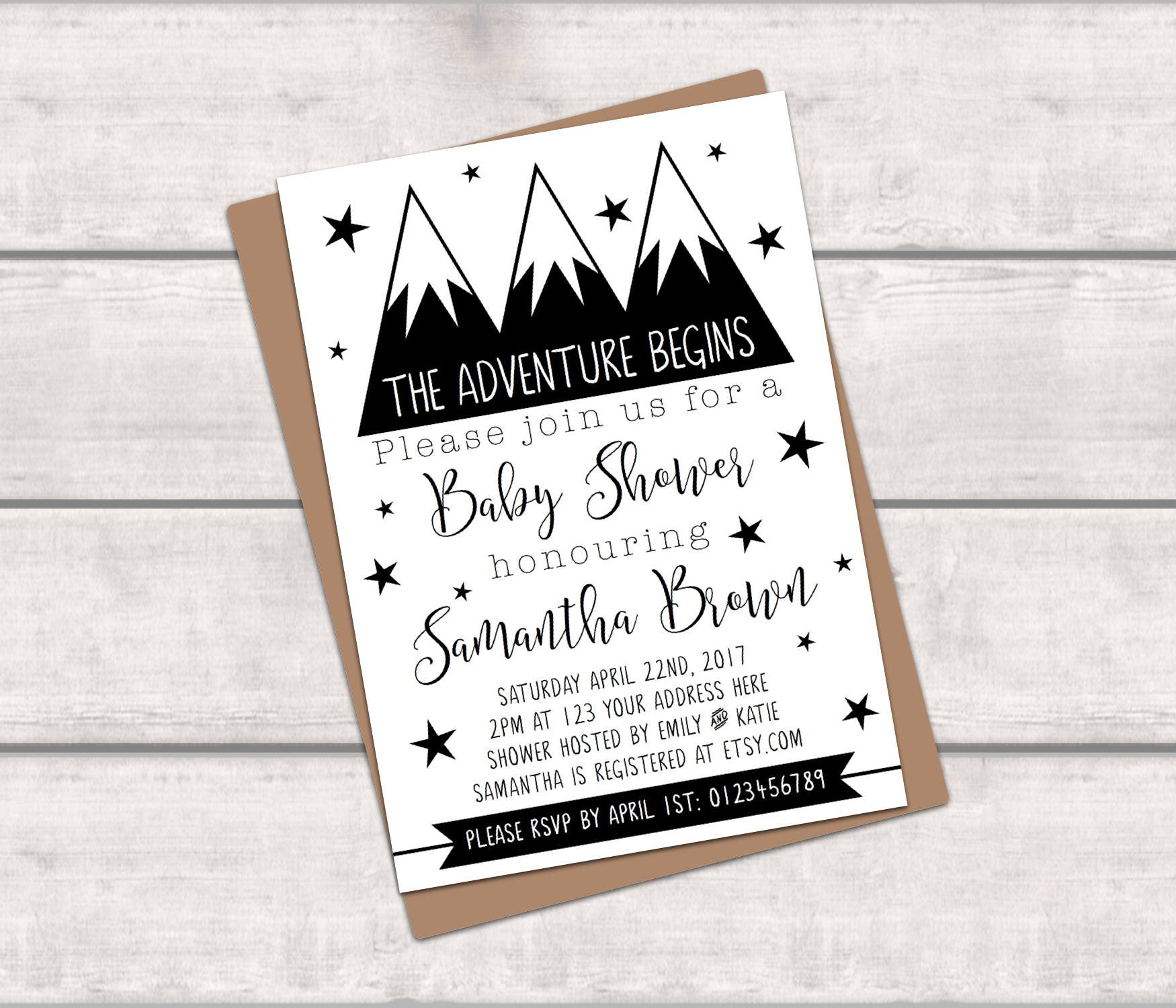 PRINTABLE Personalised Baby Shower Invitation - The Adventure Begins