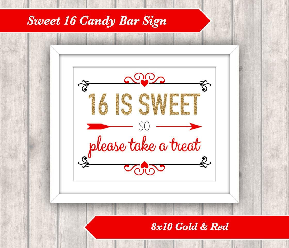 INSTANT DOWNLOAD -Printable Sweet 16 Candy Bar Sign - 16 is Sweet so