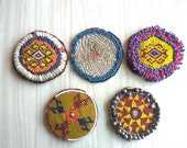 A Set of 05 Assorted Banjara Patches Tribal Beads Baby Patches, Ethnic Medallions, Vintage Gypsy Embellishment Patches, Tribal, Hippie, Boho