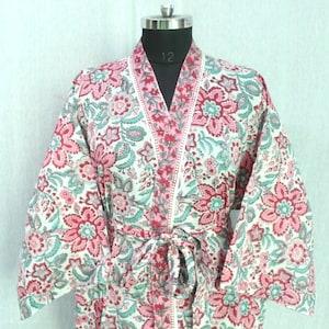 Indian Block Print Kimono Robe 100/% Cotton Kimono Handmade Cotton Robe Beach Cover up Bath Night Gown Lightweight Kimono Maternity Robe