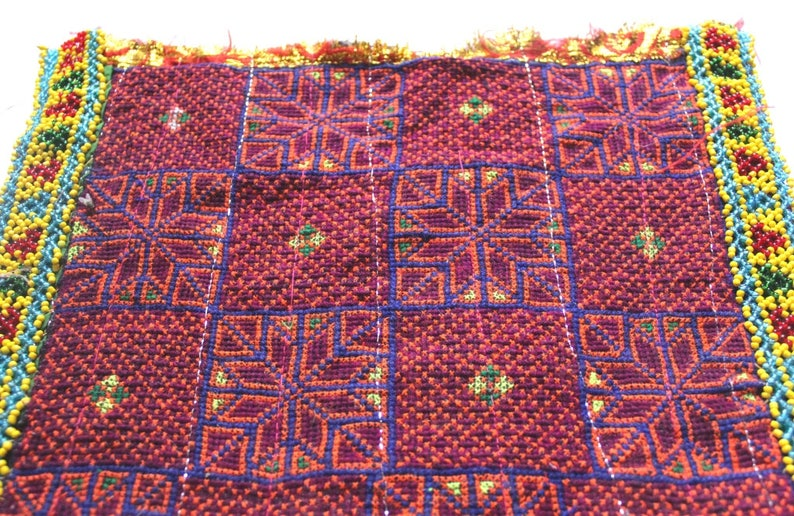 Indian Traditional Banjara Fabric Hand embroidered Mirror work Handmade and Vintage Old Fabric to Decorate Your Clothing and Interior