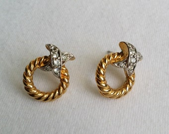 Vintage Signed PB Gold Tone Clear Rhinestone Stud Rope Earrings.