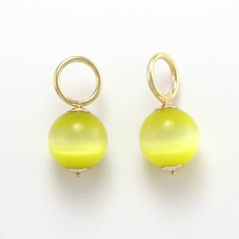 ab0e828585017 14k Gold Cat's Eye Bead Earring Charms E623