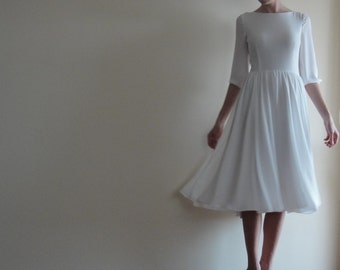 Crepe Chiffon Dress,Underlined with 100%Cotton,White Midi Dress,Wedding dress,Open Back Prom Dress,Bridesmaid Low back Long Sleeves Bridal