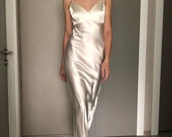Ivory Maxi Silk Satin Dress,Cream Extra Full Length Slip Dress,Adjustable Spaghetti Straps,Off White Silky Deep V Neck Bias Cut Dress