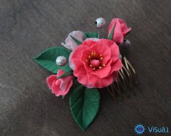 "Hairpin comb of polymer clay ""Aroma of flowers""   Заколка гребень из полимерной глины ""Аромат цветов"""
