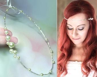 Diadem pearls simple, hair wreath discreet tiara, hair vine wedding silver gold, ornamental wreath bride, hair ornament, wire delicate headdress petite