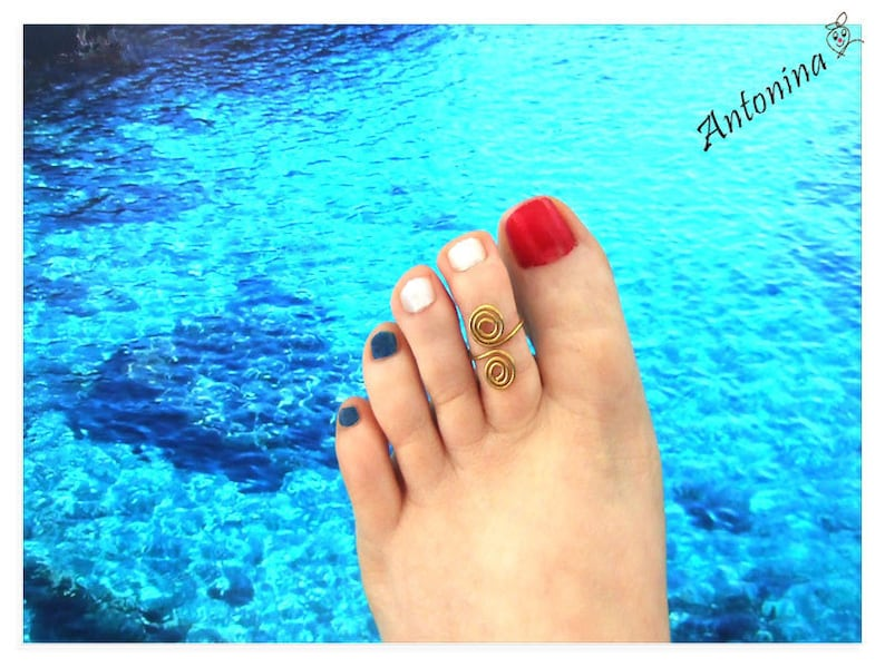 Toe ring gift wife foot ring toe ring toe brass silver Gold
