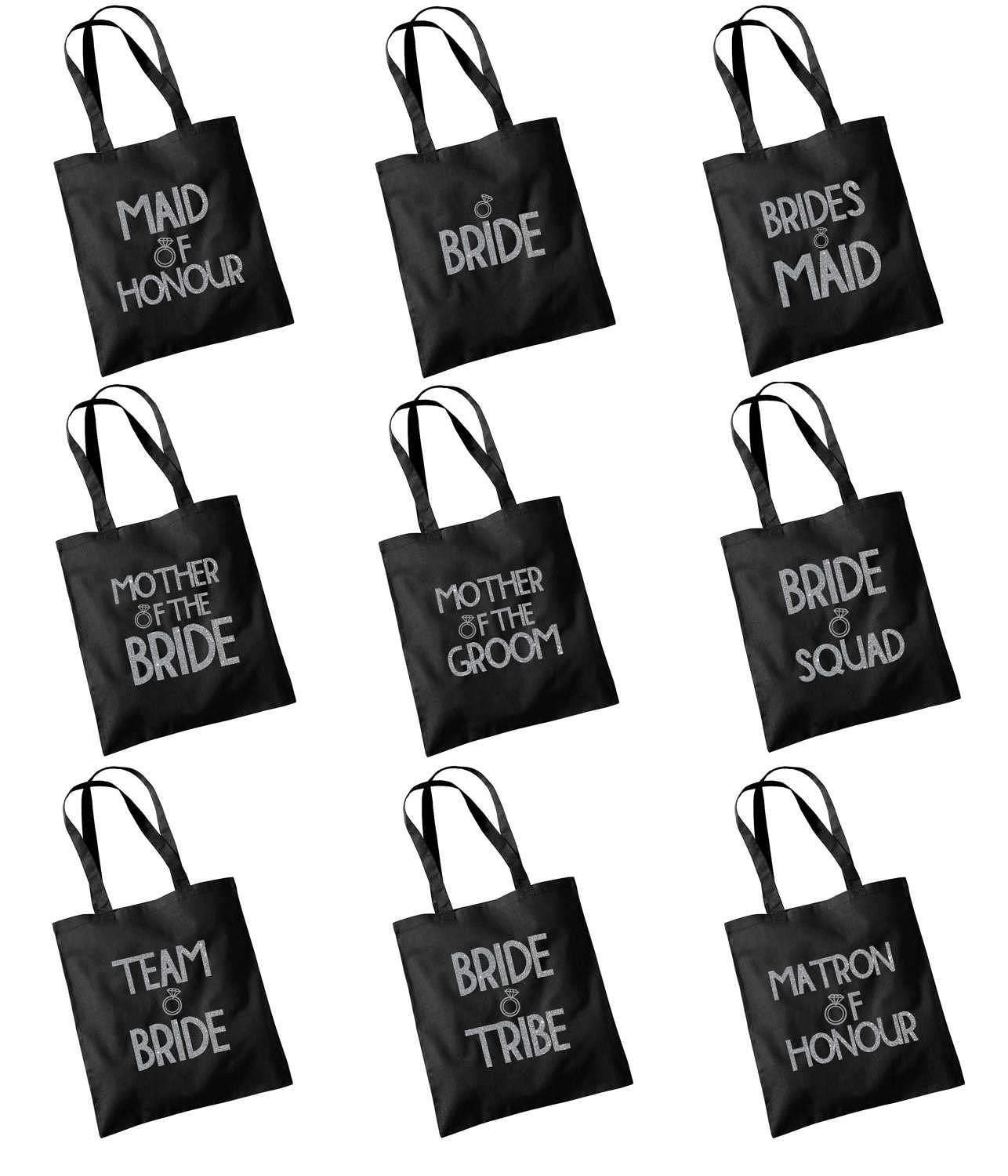 Glitter Print Wedding Party Bridal Tote Bag Bridesmaid Favour Hen